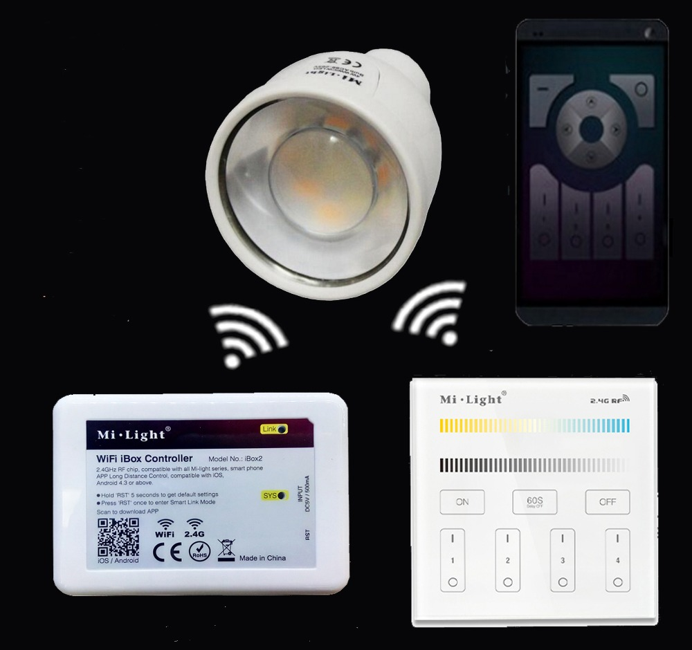 GU10 5W CCT(Warm White+White) Led Bulb Lamp AC85-265V+Mi.light Wifi Ibox Led Controller+2.4GHz 4-Zone B2/T2 Remote Controller white