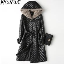 AYUNSUE Women Genuine Leather Jacket Down Coat 2018 Real Sheepskin Coats Natural Mink Fur Hooded Long Warm Winter Parkas WYQ2049