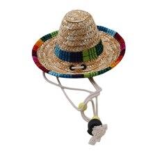 Соломенная мексиканская шляпа сомбреро Pet Регулируемая пряжка многоцветная соломенная Собака Кошка Шляпа