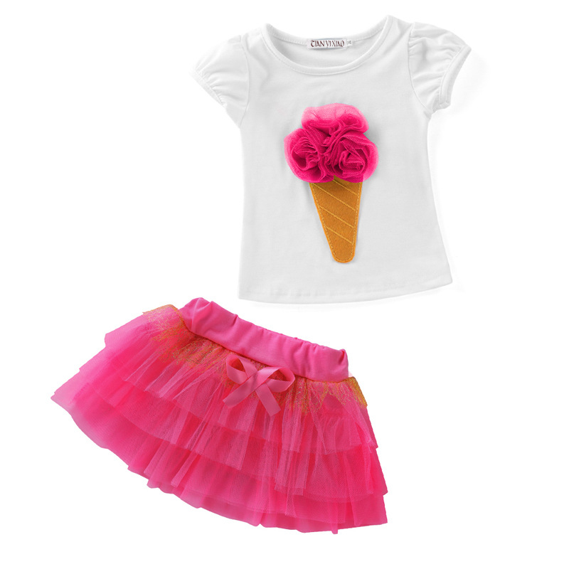 2-7 yrs 2017 New Summer Children's Sets Flower Clothes Girl Clothing Set Children's Clothing Kids Clothes for baby girls