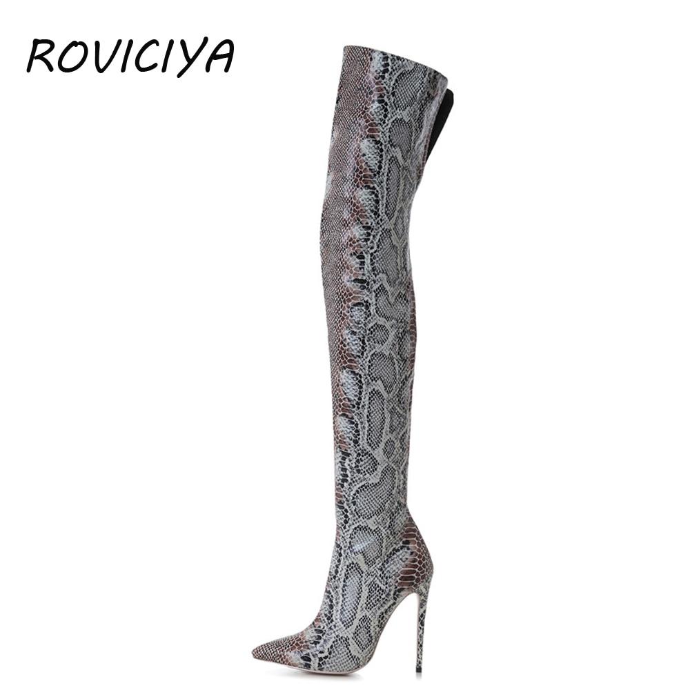 Serpent d'impression sur le genou cuisse haute bottes zipper sexy chaussures femmes automne hiver talons hauts 12 cm plus la taille WJ158 ROVICIYA