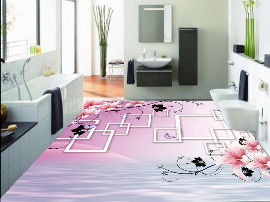 ФОТО  3d flooring waterproof wall paper Water flowers self adhesive wallpaper vinyl floor tile 3d murals wallpaper for living room