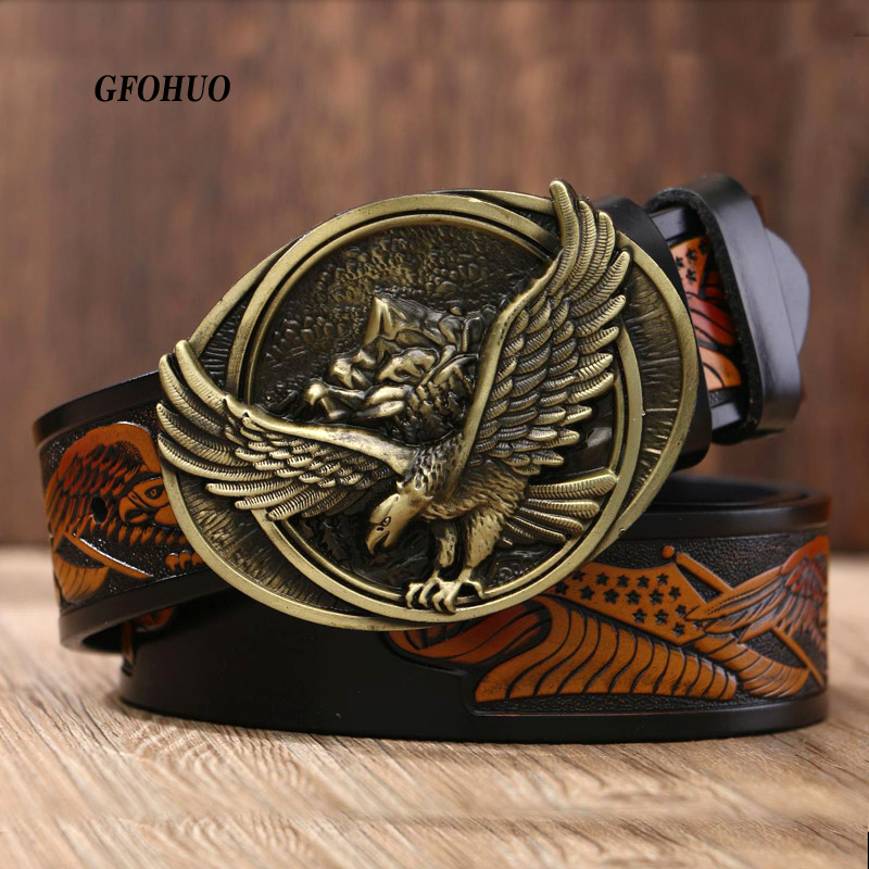 GFOHUO New Fashion Casual Men's Leather Belts Male Top Quality Eagle Totem Copper Smooth Buckle Retro Belt For Men's Jeans