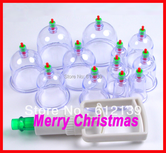 Free shipping Traditional Chinese Patented product, Medical vacuum 12 Cups Cupping Set Kit,Body Suction, Health Massager