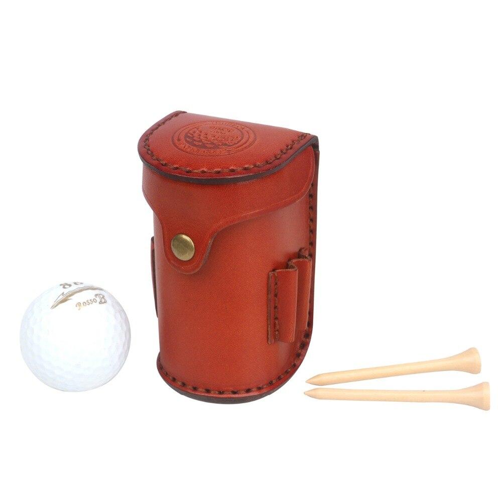 Tourbon Vintage Portable Golf Balls Tee Holder Storage 2 Balls Divot Tool Vegetable Leather Golf Pouch Carrier