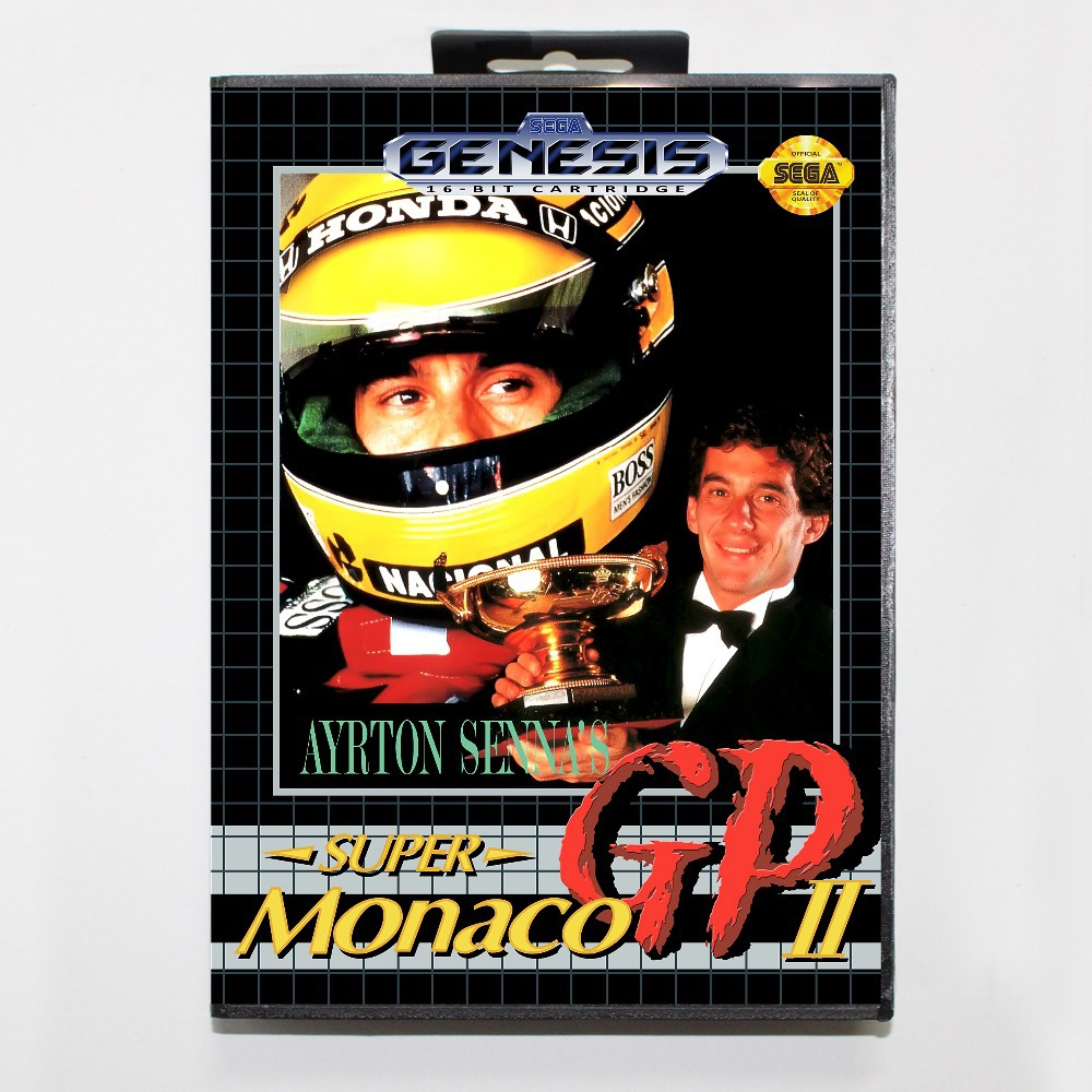16 bit Sega MD game Cartridge with Retail box - Ayrton Sennas Super Monaco GP II game card for Megadrive Genesis system