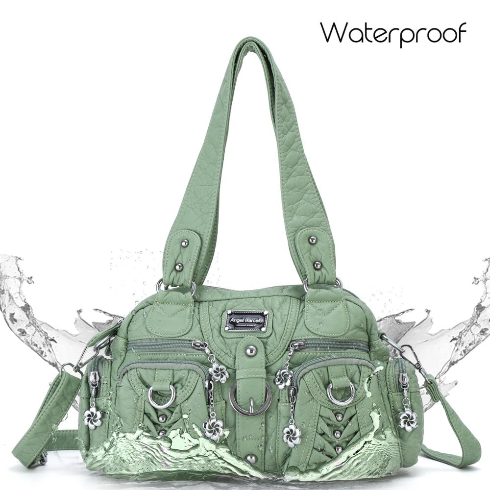 Angelkiss Casual crossbody bags for women PU leather sling bag female roomy multiple pockets shoulder bags for street shopping in Top Handle Bags from Luggage Bags