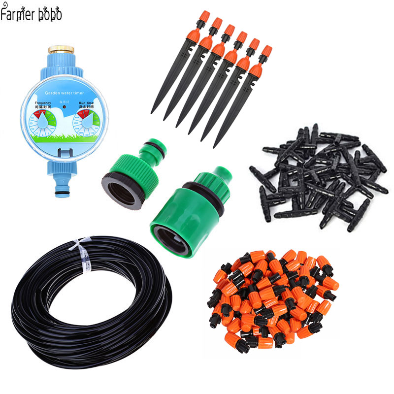 25m DIY Micro Drip Irrigation System Factory Automatic Watering Timer Garden Hose Kit with Adjustable Spray Head
