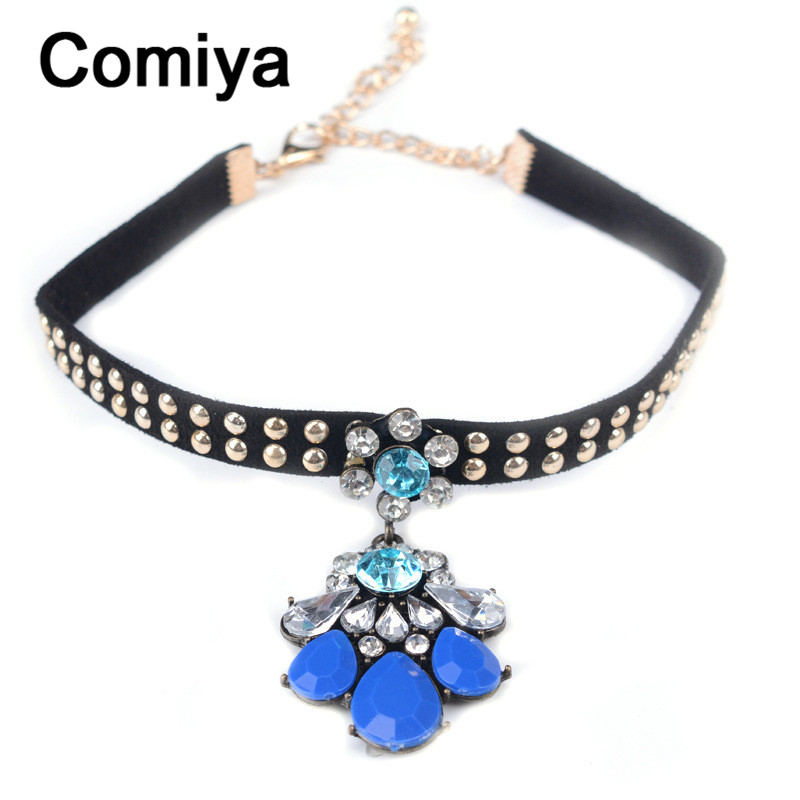 aliexpresscom buy comiya basket femme bohemian jewelry fashion gold color zinc alloy multi imitation stone flowers charm choker necklaces necklace from - Basket Femme Color