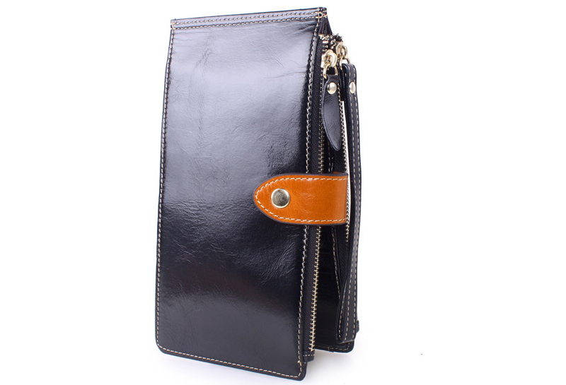 Solid Oil Wax Genuine Leather Long Multifunction European Simple Card Holder font b Wallets b font