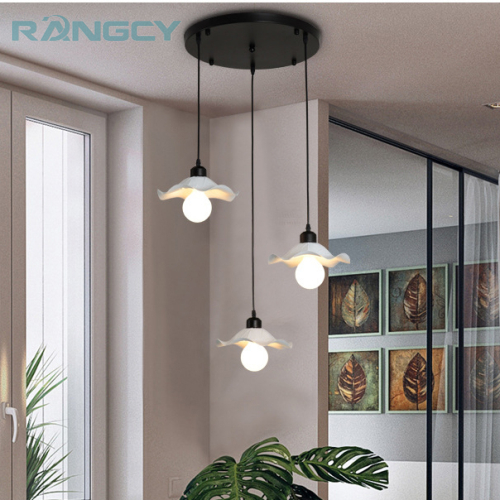 Modern Dining Room Pendant Light 3 Heads Round/Rectangle Ceiling Plate Indoor Living Room Bedroom Decoration Lamp LED bulbs