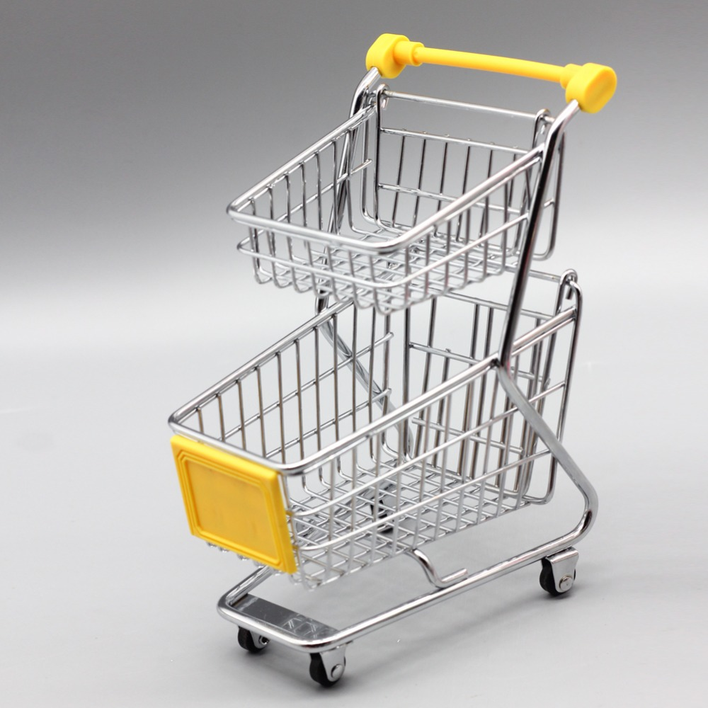 Mini Supermarket Handcart Toy Shopping Utility Cart Mode Storage Funny Folding for Chi