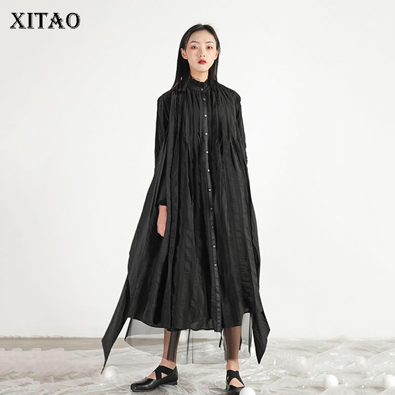 X [XITAO] Новое Женское корейское модное 2019 летнее стоячим воротником с длинным рукавом свободное платье Женская повязка до середины икры Повс