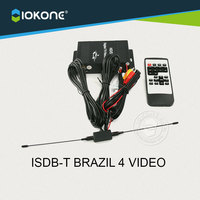 Chegada de novo!! ISDB-T para o BRASIL Chile Argentina Peru 4 VÍDEO do carro único TUNNER de TV digital caixa de receptor set top box com antena