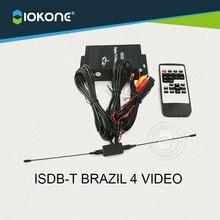 Chegada de novo!! ISDB-T para o BRASIL Chile Argentina Peru 4 VÍDEO do carro único TUNNER de TV digital caixa de receptor set top box com antena