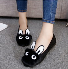 2016 autumn new rabbit face plush shoes shallow mouth pointed flat shoes single female rabbit ears