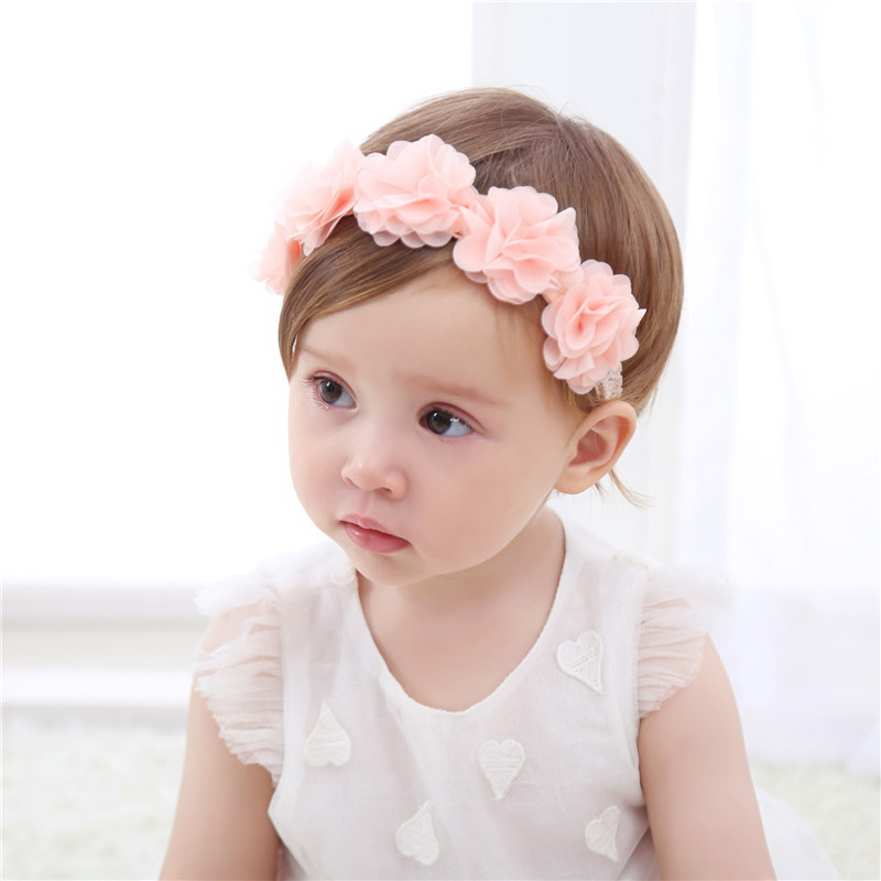 5pcs Elastic Newborn Baby Headdress Girls Chiffon Hair Band Flower Headband Hot