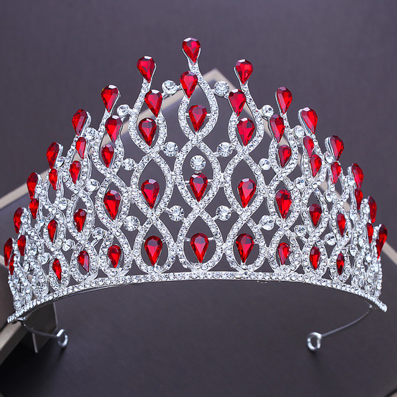 Bridal Tiaras and Crowns Full Red Blue Crystal Rhinestone Silver Wedding Hair Crown for Women 2018 New Hair Jewelry Accessories 00009 red gold bride wedding hair tiaras ancient chinese empress hair piece