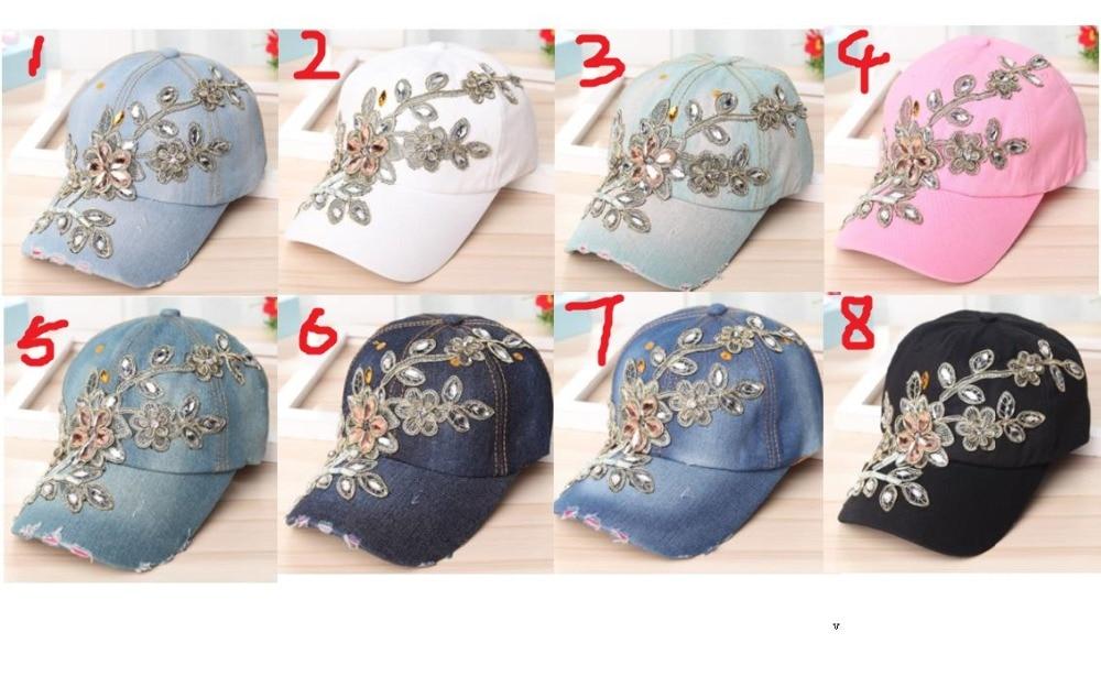 120pcs lot new fashion flower crystal bead bling cap  rhinestone denim  snapback hats baseball caps 8 color for choose 5dd42758930e