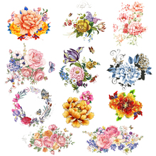 Iron on Flower Patches for Girl Clothing DIY T-shirt Dresses Appliques Heat Transfer Vinyl Washable Stickers Stripes on Clothes цена и фото