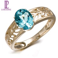 Lohaspie Natural Aquamarine 10K Yellow Gold Wedding Band Rings Vintage Fine Jewelry For Women Gift