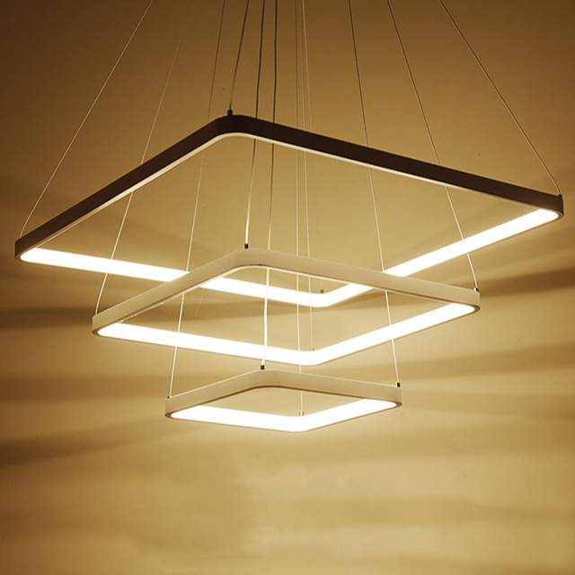 Modern Square Pendant Light Luminaire Suspendu Moderne Lamp Metal White Hanging Home Lighting Fixture