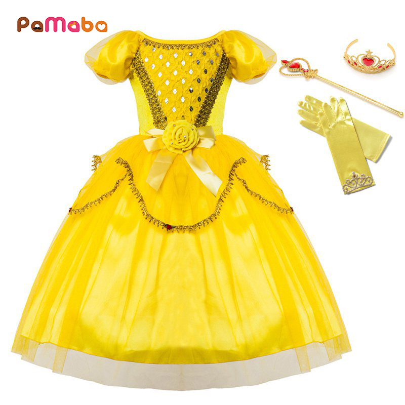 PaMaBa Girls Princess Belle Dress up Birthday Party Fancy Costume Sequined Puff Sleeve Kids Halloween Cosplay Outfit Clothes button up frilled puff sleeve blouse