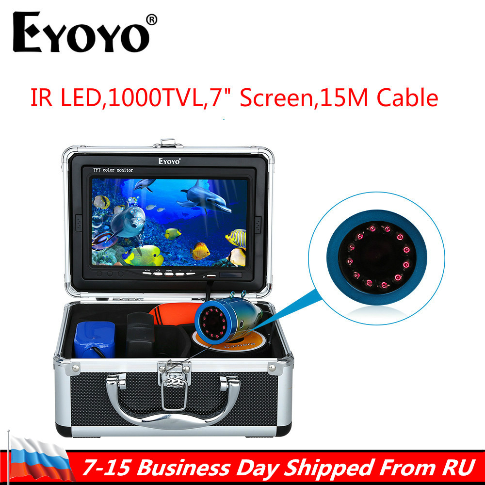 Russian Local delivery!Eyoyo Original 1000TVL Fish Finder Underwater Fishing 7 Video Camera Monitor Sunvisor Infrared IR LED цена