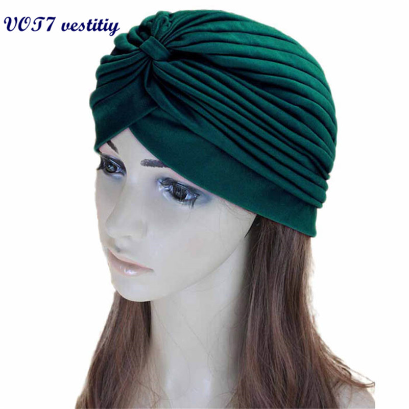 hot sale VOT7 vestitiy New Stretchy Turban Head Wrap Band Chemo Bandana Hijab Pleated Indian Cap Sep 15 womensdate 19 color indian cap for women turban hats women s head wrap band hat beanies stretchy chemo bandana hijab 1pcs