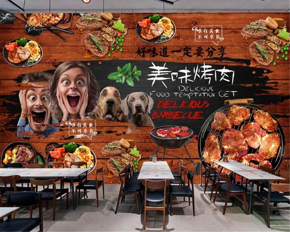 Steak Meat BBQ Grill Food Wallpaper Mural Photo Restaurant Kitchen Decoration