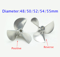 4/4. 76mm CNC Aluminium Propeller Positieve/Reverse Schroef Voor RC Racing Boot Model Diameter 48/50/52/54/55mm Pitch 1.8