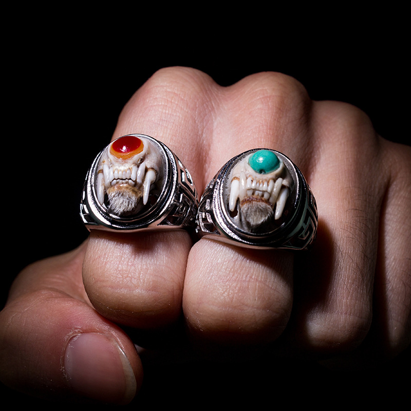 inlaid small demon skull ring mink materials offered type collectables autograph collection for small men and women