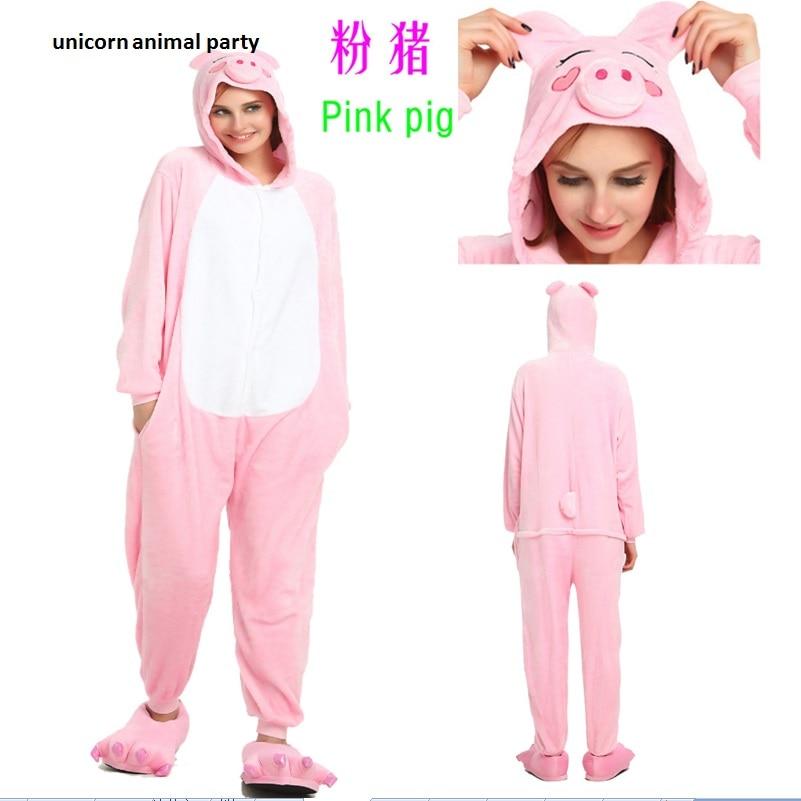 Kigurumi Cartoon 성인 Unisex 동물 Pink Black Pig Onesie 잠옷 - 캐릭터의상
