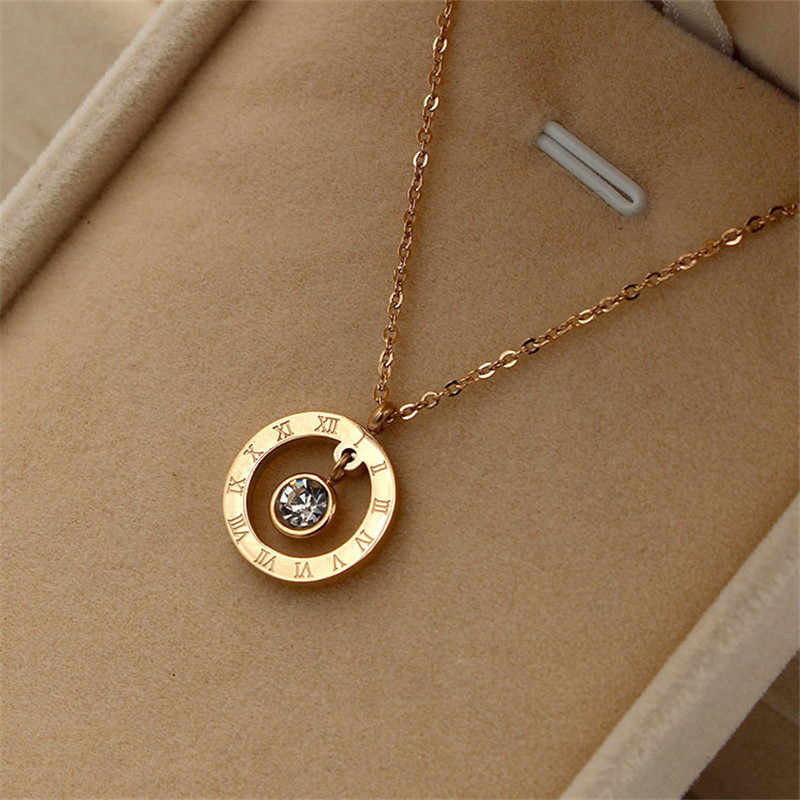 Martick Europe Brand Woman Pendant Necklace Roman Numerals With Single Shining Crystal Rose Gold Color Femme Necklace P13