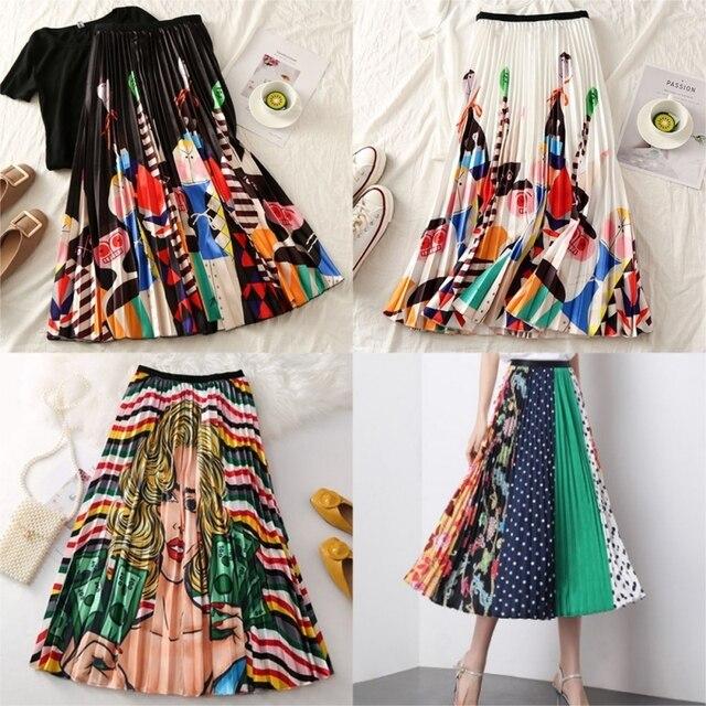 2019 Summer Women Long Pleated Skirt Plus Size Cartoon Print White Black Pleated Skirt Elastic Casual High Waist Skirt 1