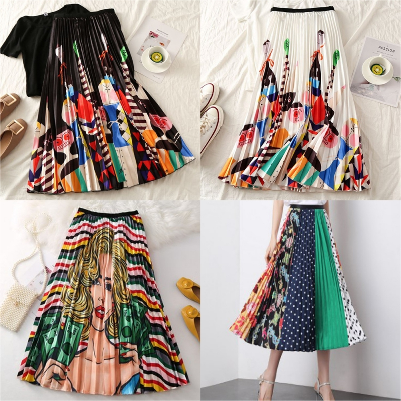 2019 Summer Women Long Pleated Skirt Plus Size Cartoon Print White Black Pleated Skirt Elastic Casual High Waist Skirt