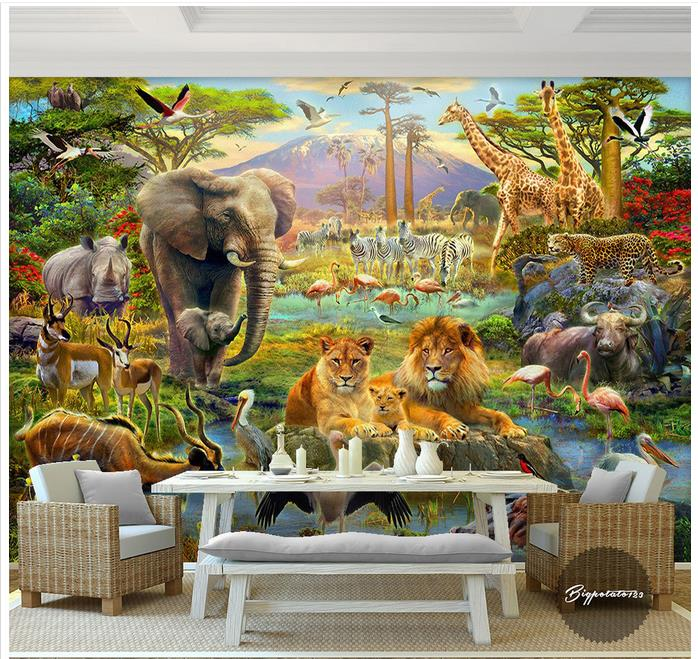 custom 3d wallpaper murals cartoon mural wall forest elephant lion giraffe antelope forest. Black Bedroom Furniture Sets. Home Design Ideas