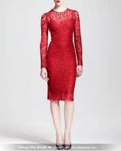 Neue Nach Maß Abendkleid A-line Langarm Spitzenkleid Cocktail Party Fashion Kleider MY1008-11