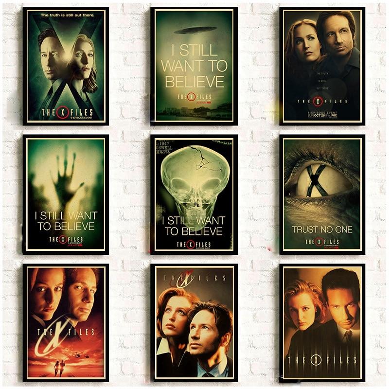 Les affiches x-files Alien UFO série TV rétro papier Kraft affiches mur décoratif photo pour chambre stickers muraux