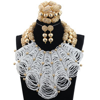 White African Wedding Beads Bridal Jewelry Sets Dubai Gold Chunky Bib Statement Necklace Set Nigerian Wedding Beads QW1203