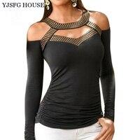 YEJIA FASHION Sequins Patchwork Black T Shirt Women Off Shoulder Hollow Out Office Tee Shirt Femme