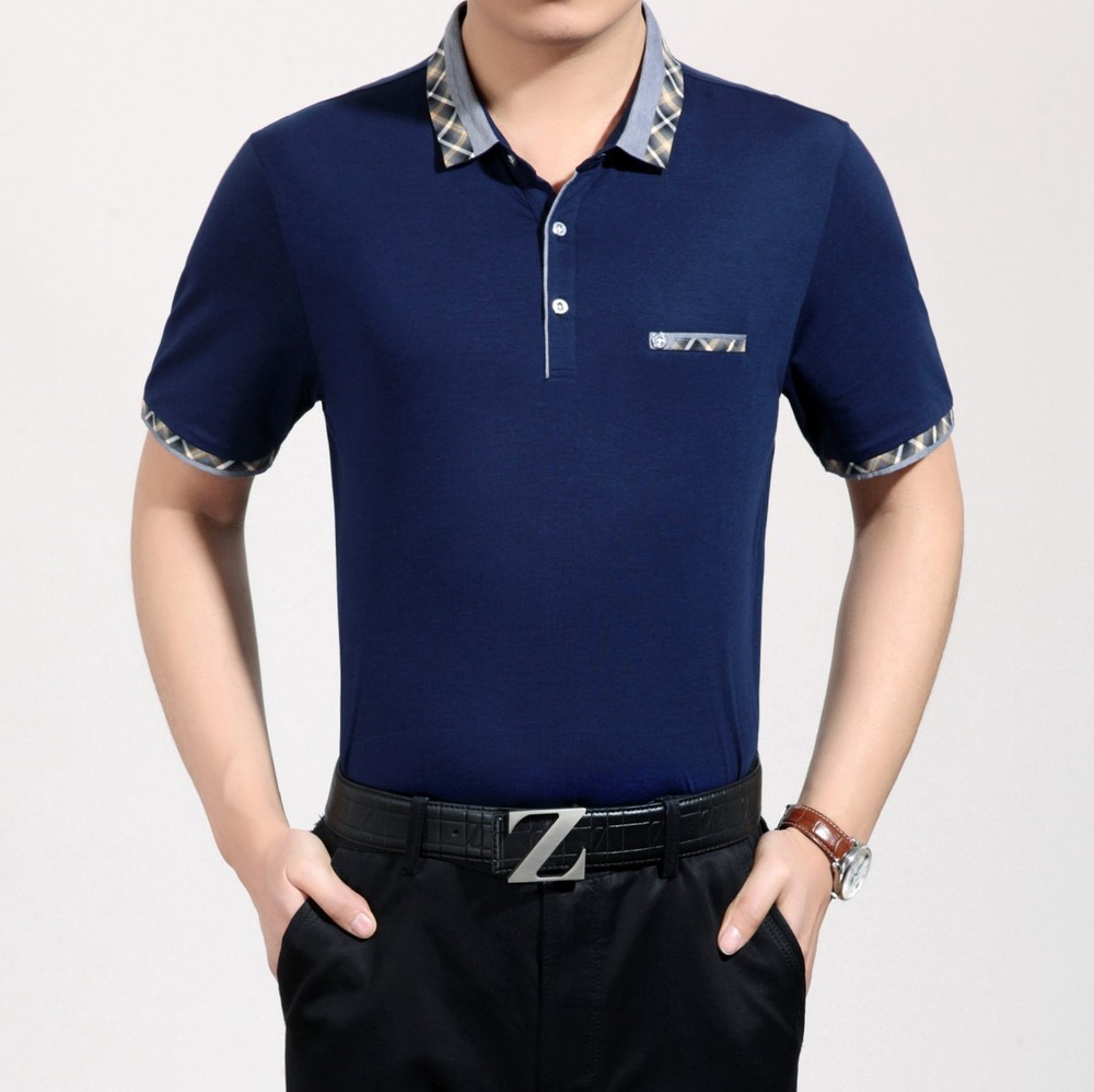 2019 new summer   polo   homme short sleeve shirt   polo   men Lapel slim simple solid middle-aged men's solid business casual shirts