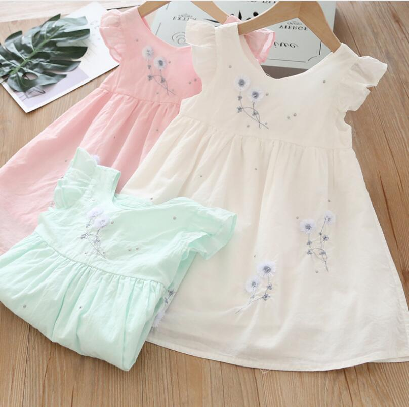 2019 Baby Girls Summer Cotton Embroidery Cute Dresses, Princess Children Sweet Dress  6 pcs/lot, Wholesale
