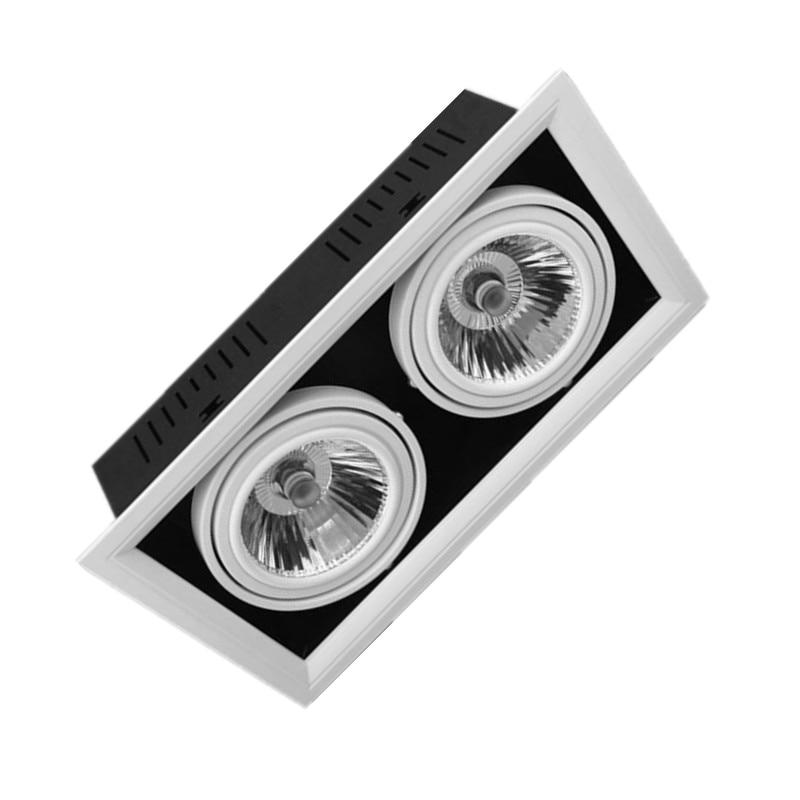Двойной затемняемый Встраиваемый светодиодный светильник COB 30 Вт Светодиодный точечный светильник 2*15 Вт COB светодиодный потолочный светил