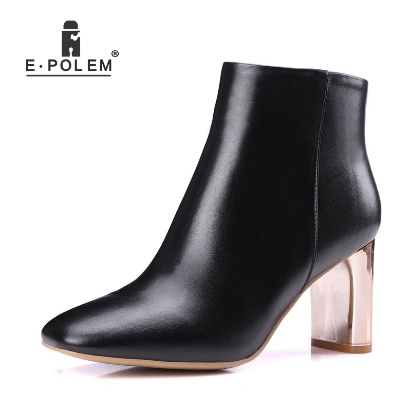 High Heel Genuine Leather Female Boots Side Zip Short Boots Women Round Toe Ankle Boots Warm Velvet Martin Boot Fashion 2018 New warm velvet martin boot female leather boots high heel genuine leather side zip ankle boots women patchwork round toe short boot