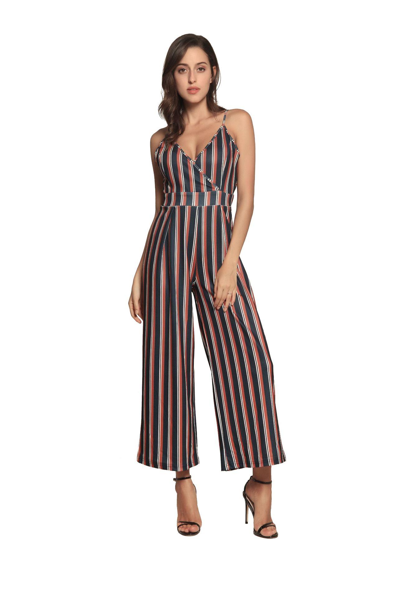b12beb5227a 2019 Black White Striped Triangulo Jumpsuit Women Plus Size ...