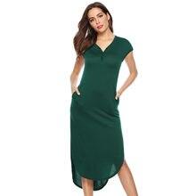31f96815ad039 Kadın Casual Derin V-yaka Katı Boho Elbise yaz elbisesi Kısa Kollu Cep  Elbise vestidos