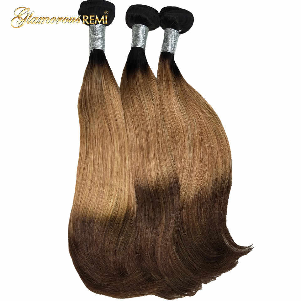 Ombre Brazilian Straight Hair Bundles 3 Tone #1b #27 #4 Brown Color Ombre Remy Human Hair Bundles Double Drawn Funmi Hair Weave