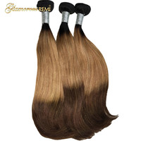 Ombre Brazilian Straight Hair Bundles 3 Tone #1b #27 #4 Brown Color Ombre Remy Human Hair Bundles Double Drawn Funmi Hair Weave