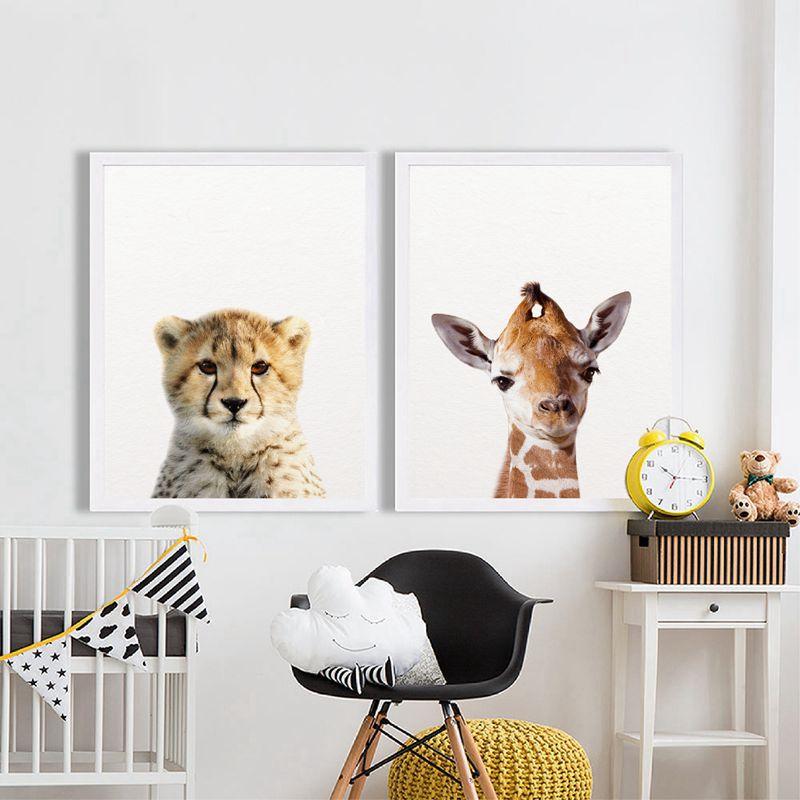 HTB1qsf4XKSSBuNjy0Flq6zBpVXaG Lion Zebra Elephant Giraffe Baby Animals Art Print Poster, Safari Animals Picture Canvas Painting Kids Room Nursery Wall Decor